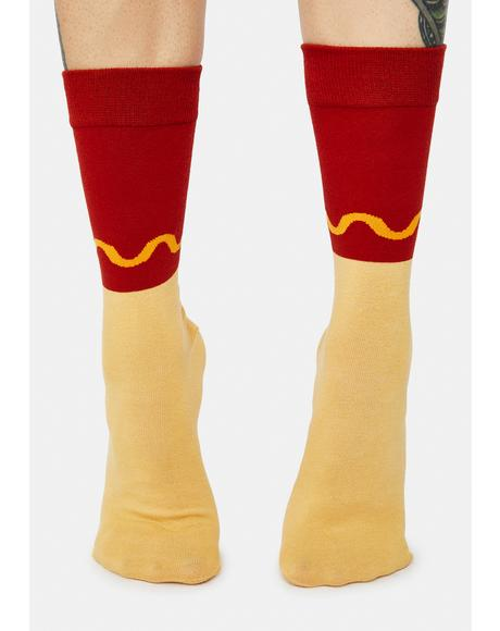 Buns Out Hot Dog Crew Socks