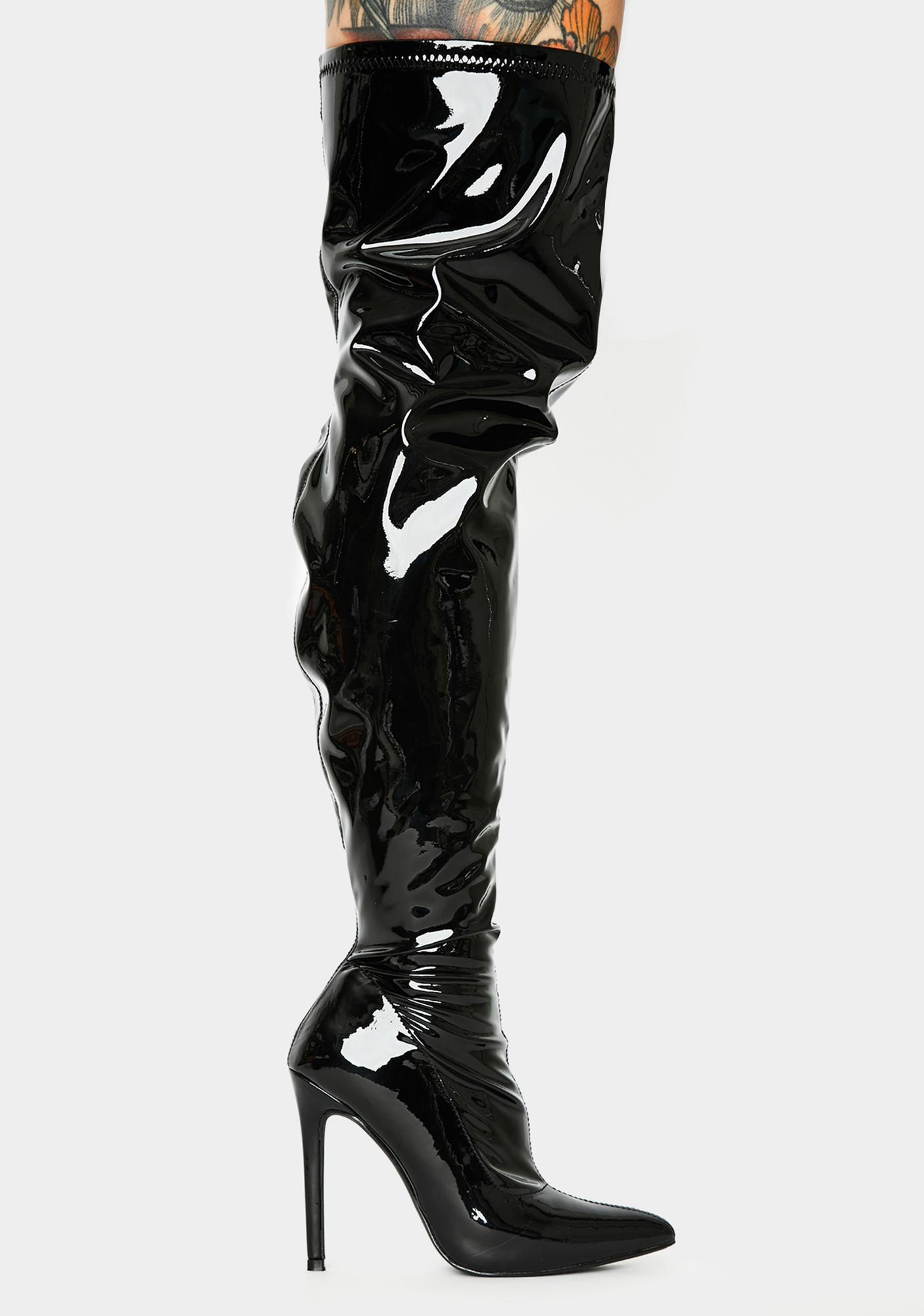 Vinyl Thigh High Stiletto Boots Black