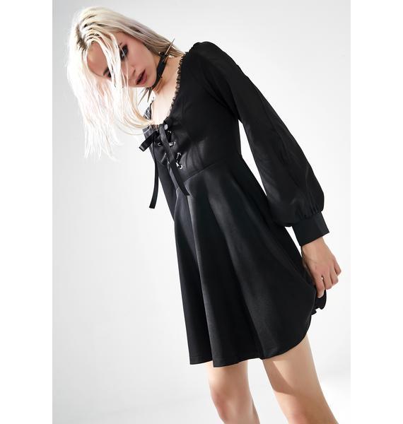 Punk Rave Lace Up Peasant Mini Dress