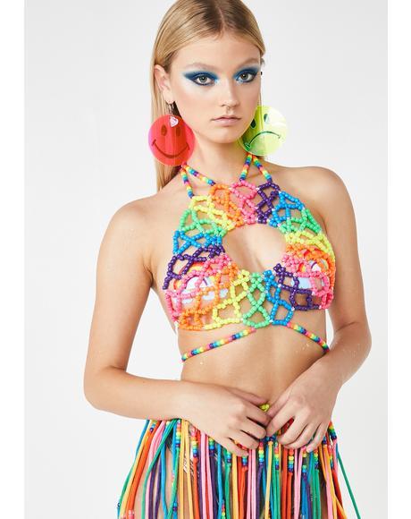 Rainbow Kandi Halter Top
