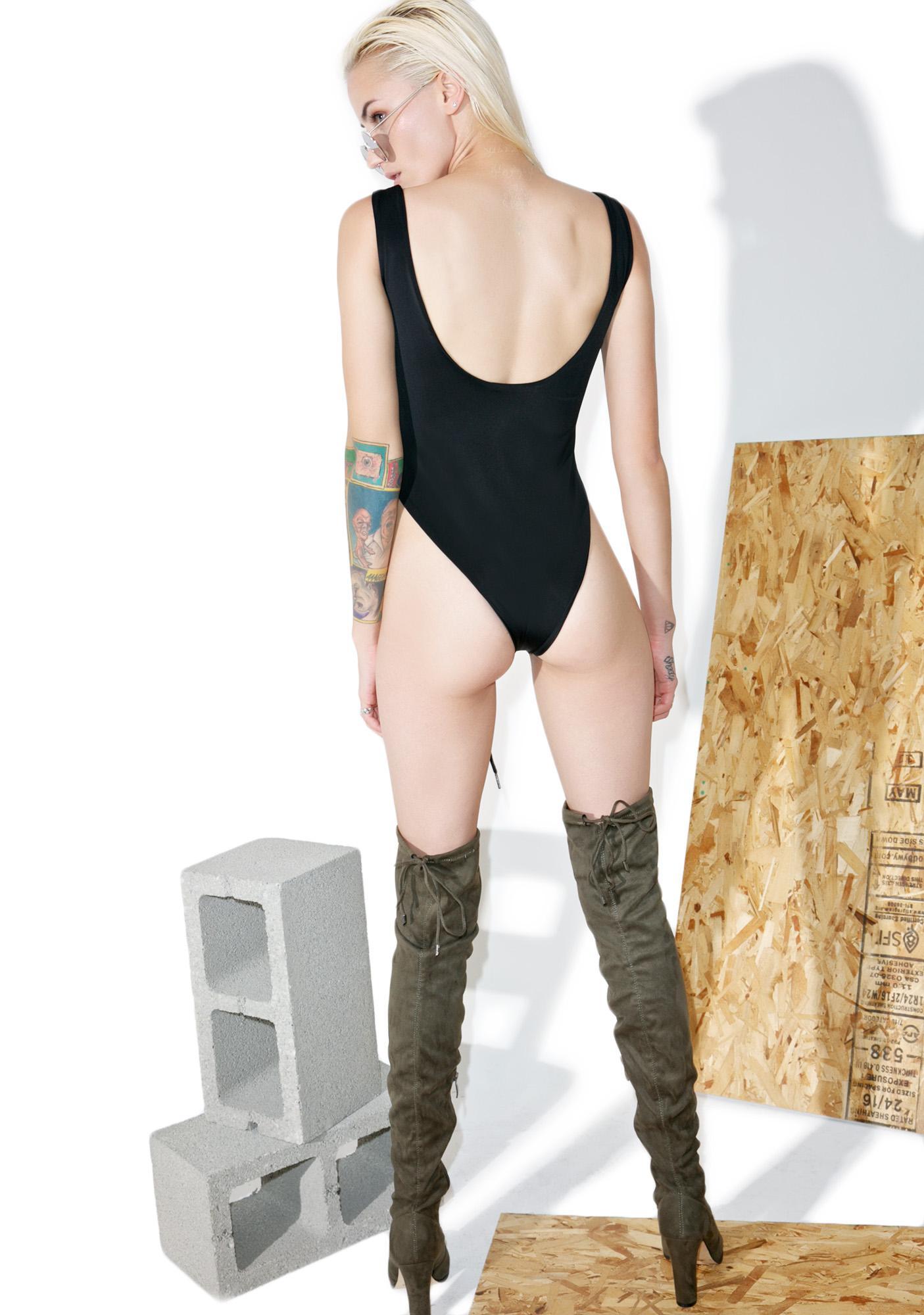 Shade London Black Lace-Up Bodysuit