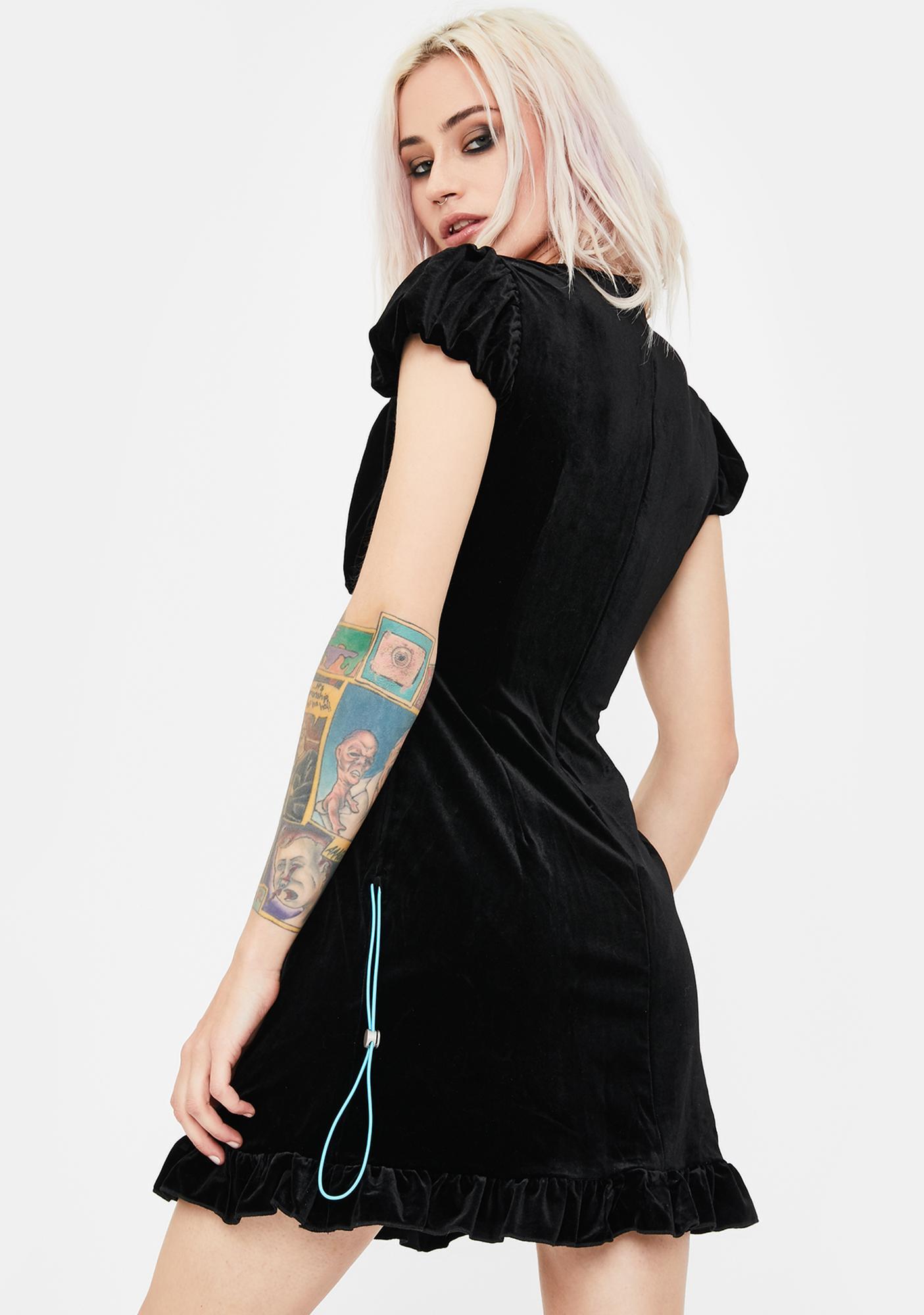 No Dress Velvet Drawstring Mini Dress