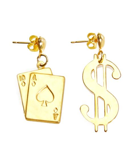Love Don�t Cost A Players Card Earrings