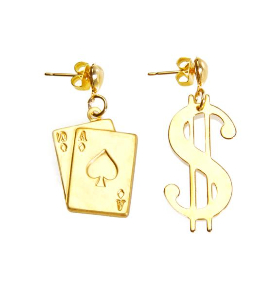 Fraiser Sterling Love Don't Cost A Players Card Earrings
