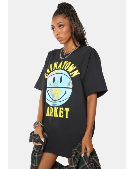 Smiley Globe Ball Graphic Tee