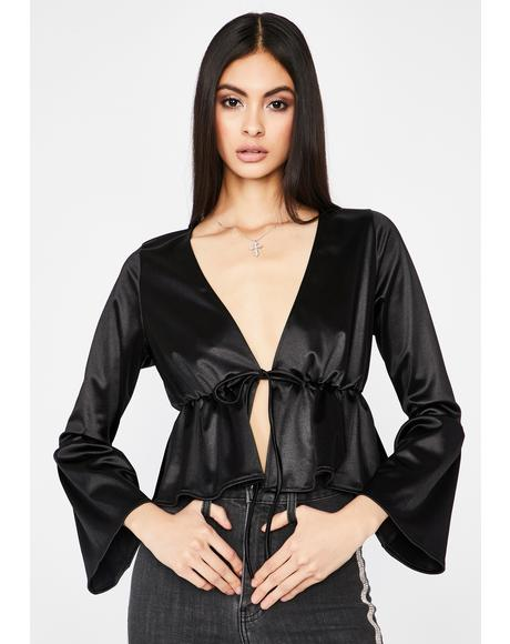 Noir First Date Kiss Satin Blouse