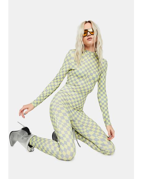 Wrinkle In Time Checkered Jumpsuit