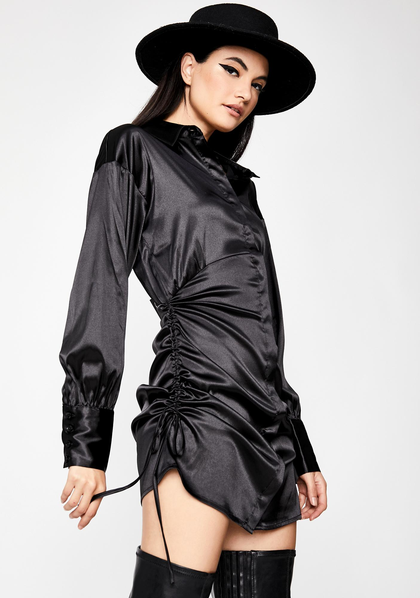Iron Will Satin Shirt Dress