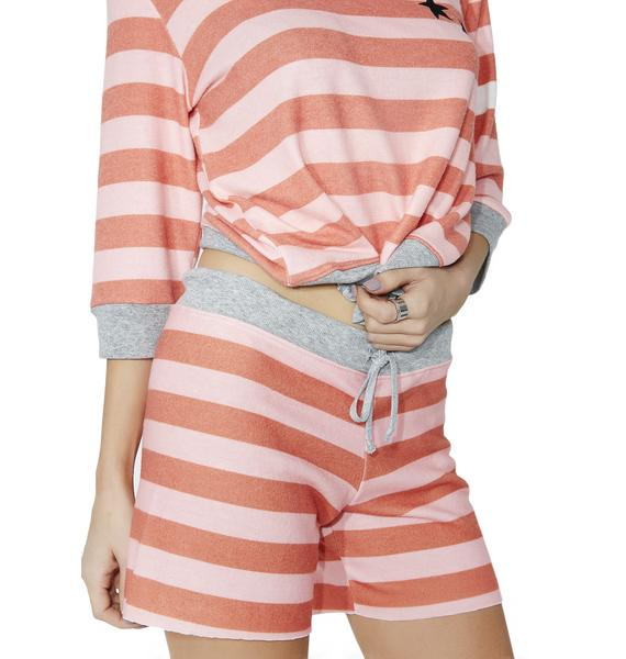 All Things Fabulous White Stripes Cozy Shorts