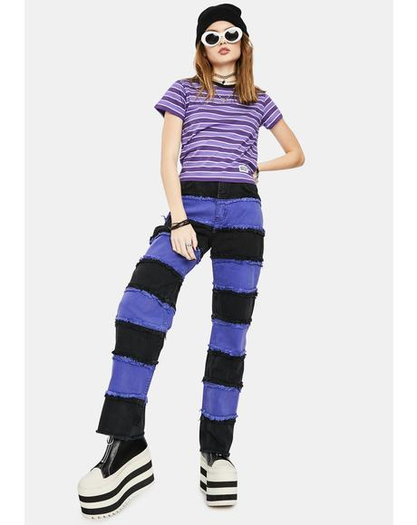 Purple Infringement Stripe Panel Jeans