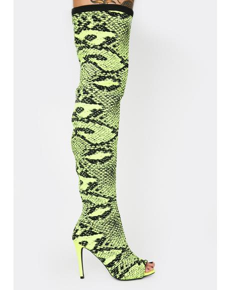 Lime Serpentine Seduction Thigh High Boots