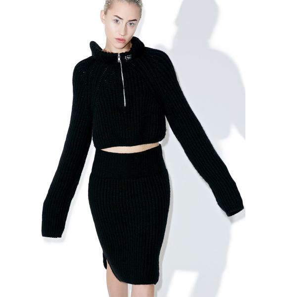 Maria ke Fisherman Noir Knit Skirt