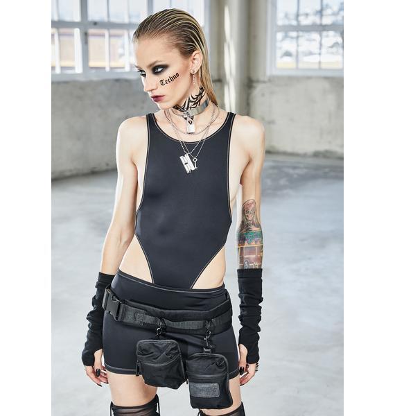 DARKER WAVS Bassline Contrast Stitch Mini Skirt