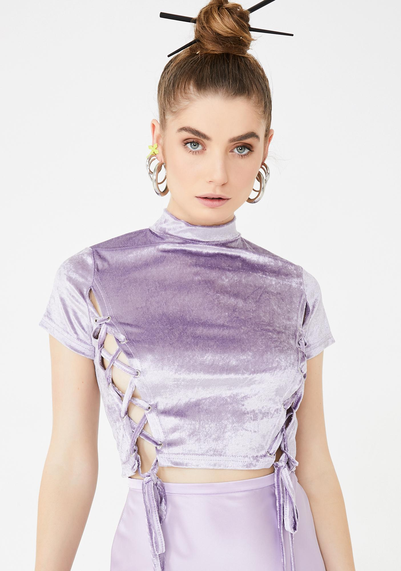 Lilac Cotton Tie Up Top by Zemeta