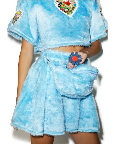 Pastel Spice Baby Faux Fur Skirt With Fanny Pack