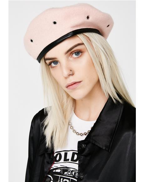 Dusty Pink Military Stud Beret