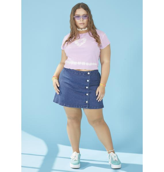dELiA*s by Dolls Kill I'm Feelin' Swell Denim Skirt