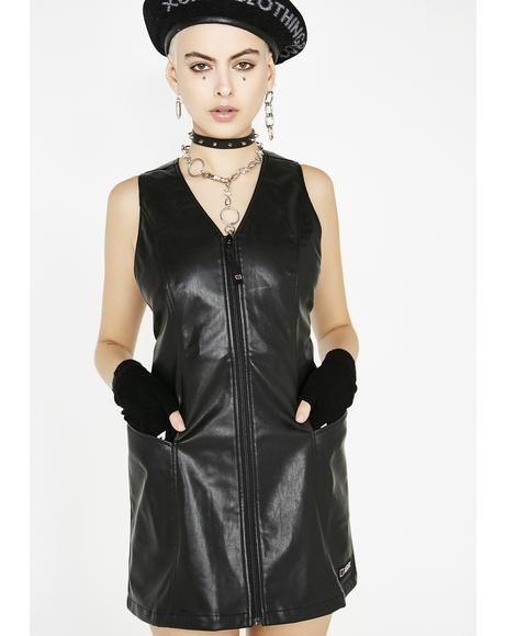 Faux Leather Retro Dress
