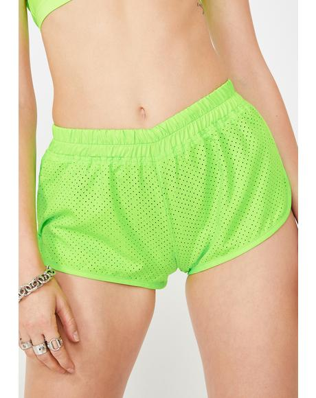 Slime Perforated Dolphin Shorts