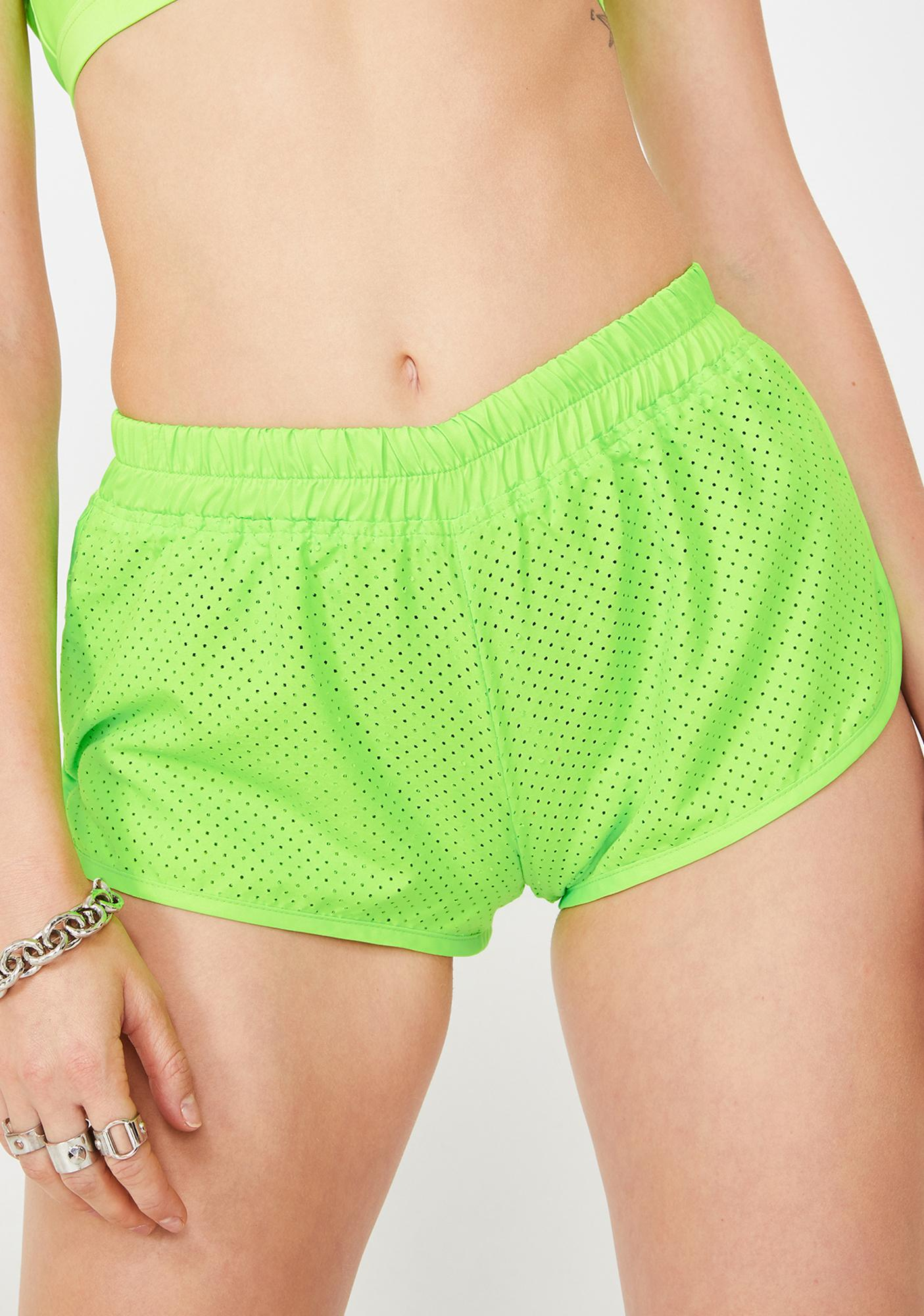 Slime Perforated Dolphin Shorts by Rojas