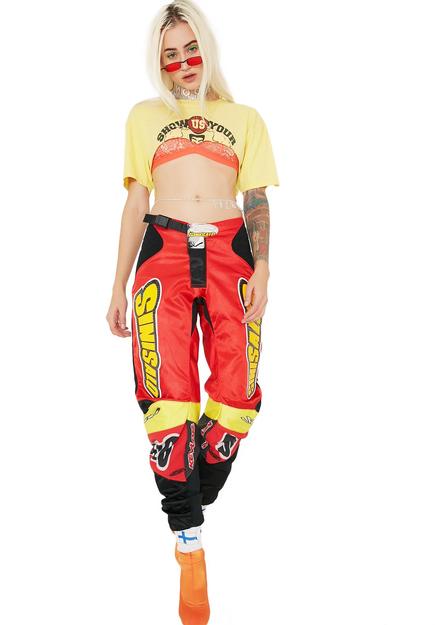 Vintage Red Racing Pants