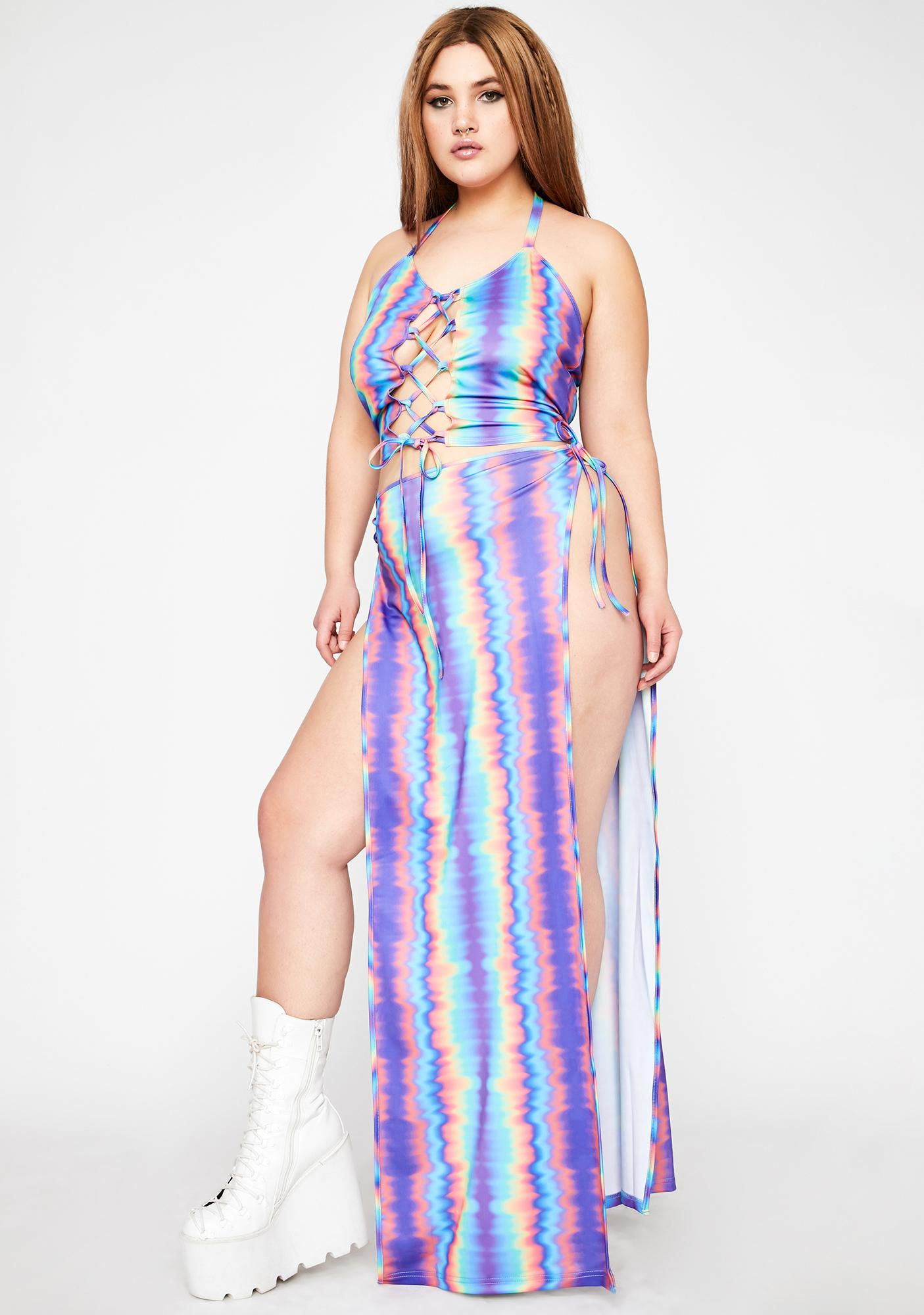 Club Exx Real Hypnotic Mist Lace-Up Maxi Set