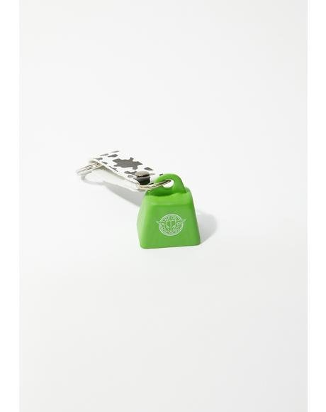 Green Mini Cowbell Keychain