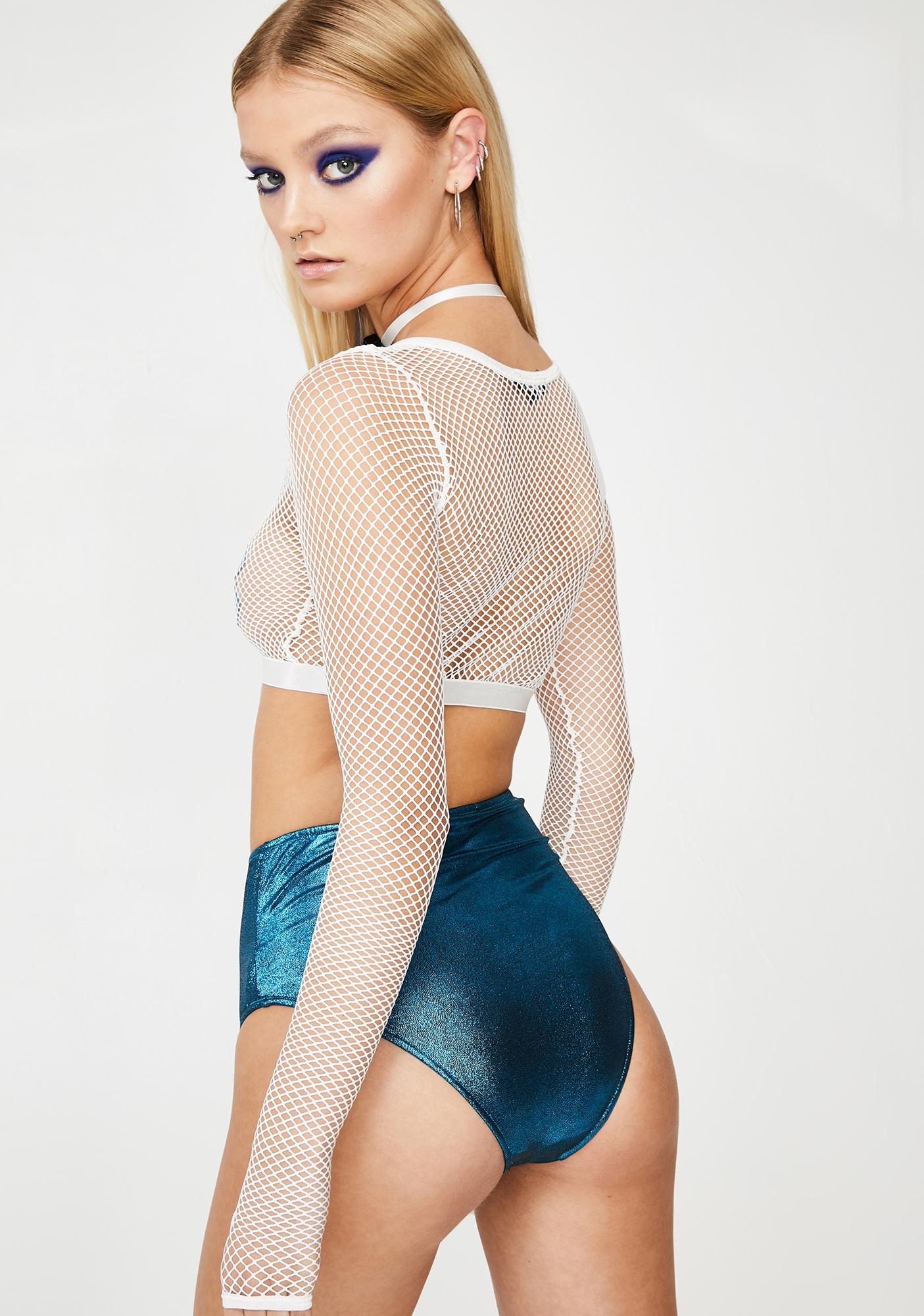 Club Exx Angelic Tempo Fishnet Crop Top