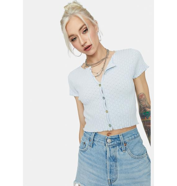 Sky Taking It Easy Button Up Crop Top