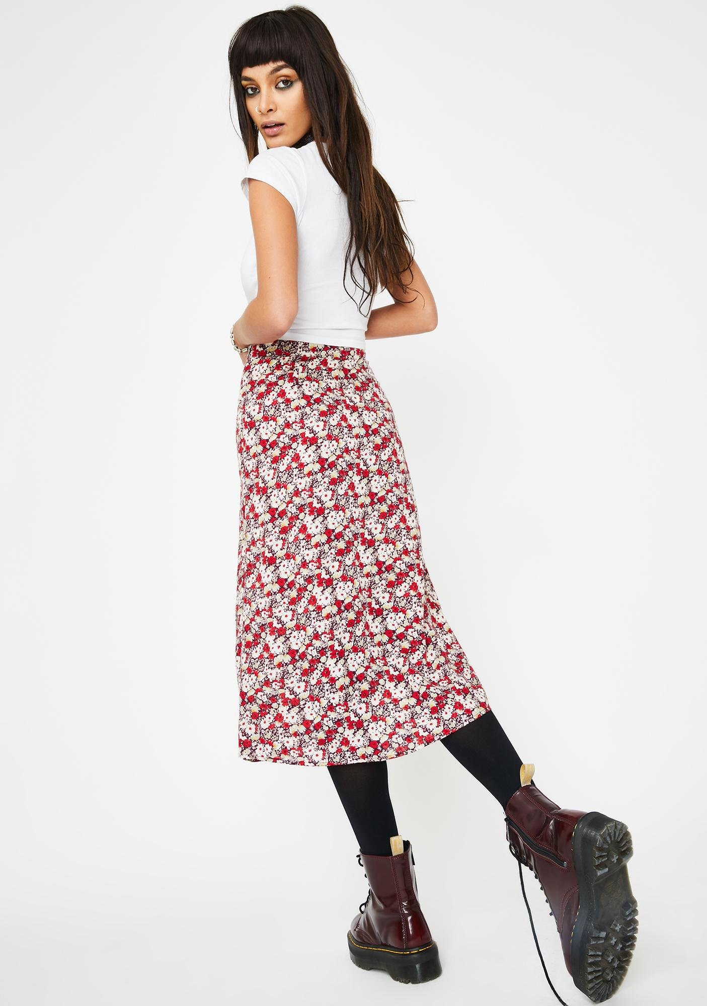 Motel Red Floral Saika Skirt
