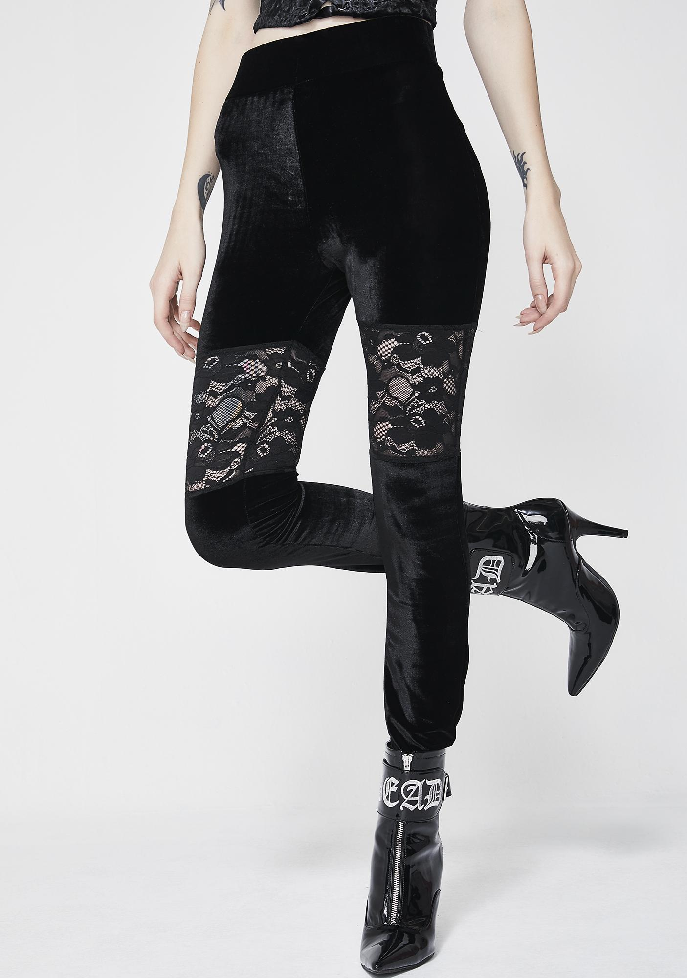 Killstar Rose Merry Velvet Leggings