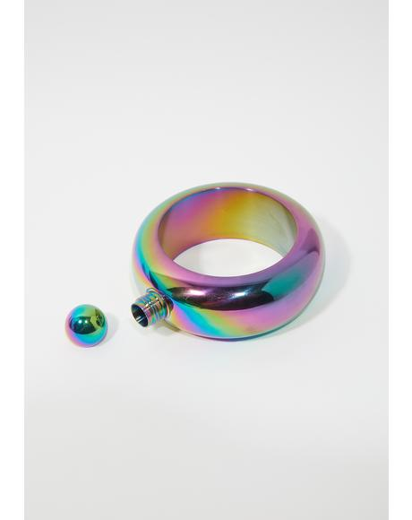 Secret Shot Iridescent Ring Flask