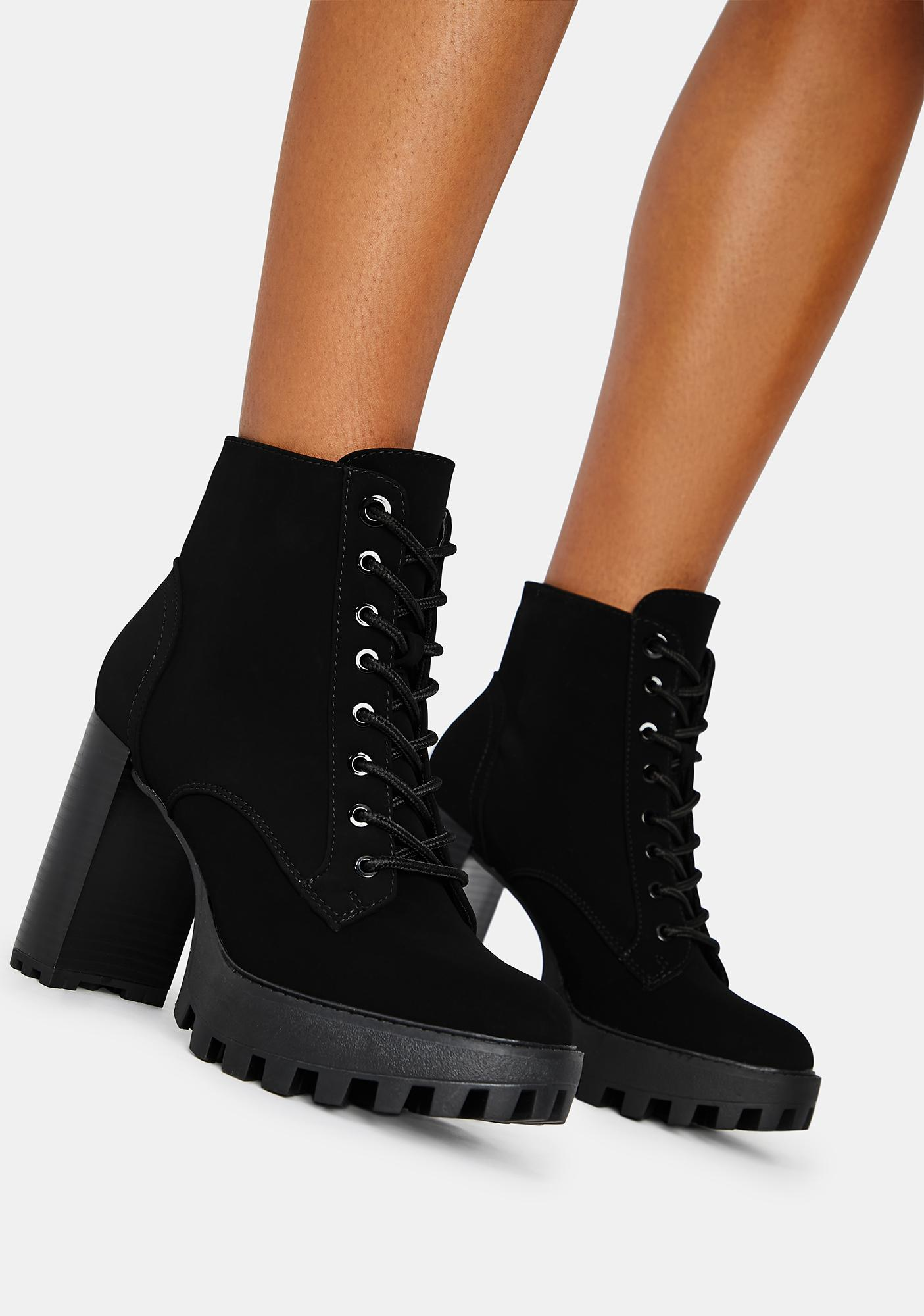 Lace Up Heeled Platform Booties - Black