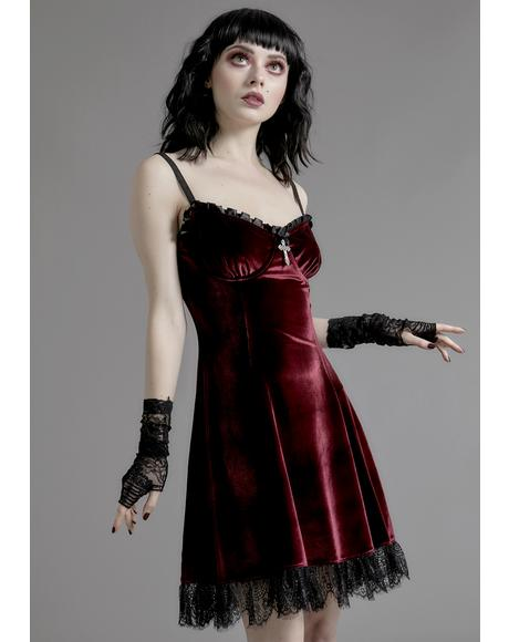 Wine Blind Faith Velvet Dress