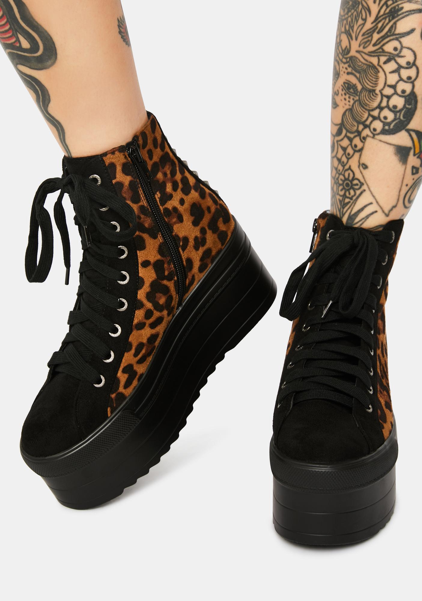 Lamoda Sway This Way Leopard Flatform Sneakers