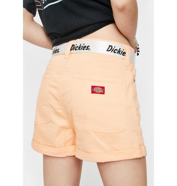 Dickies Girl Apricot Rolled Hem Belted Shorts