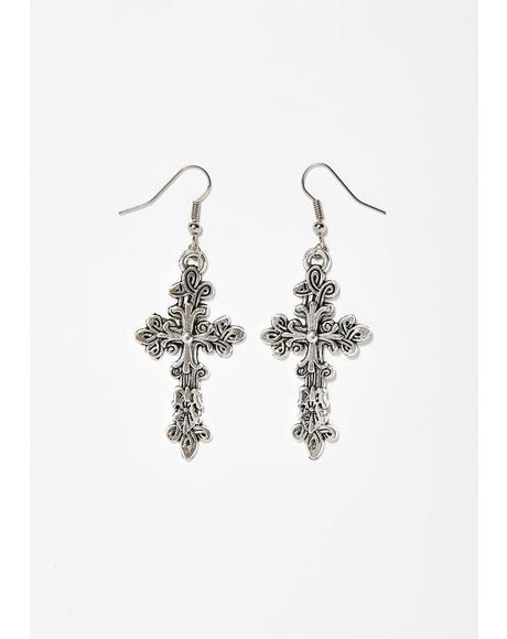 Holy Entity Cross Earrings
