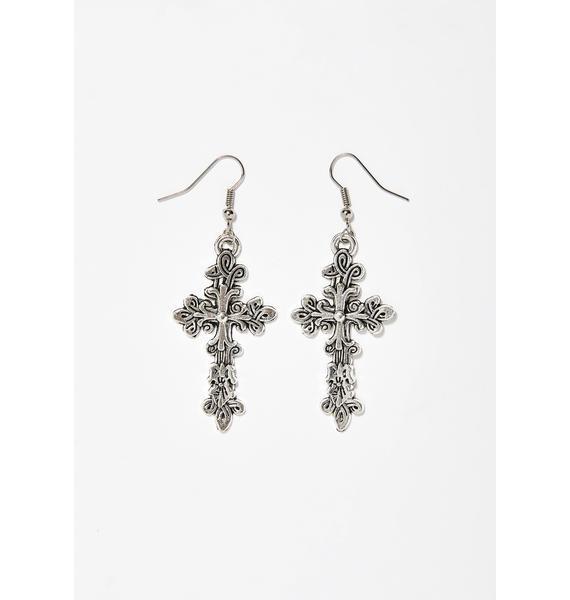 Holy Entity Cross Earrings