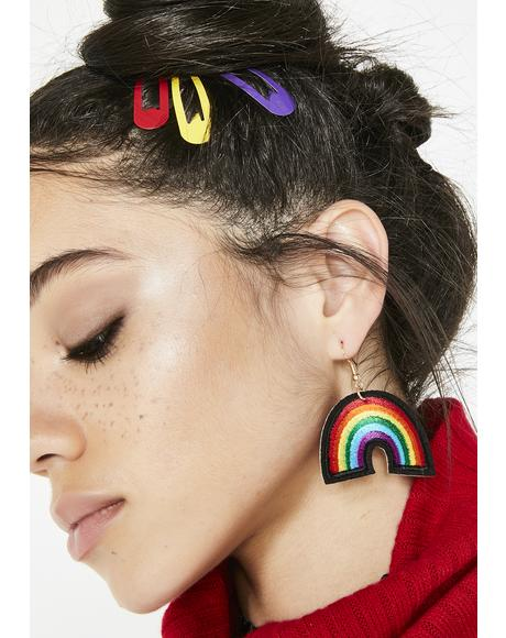 Bring Sunshine Rainbow Patch Earrings