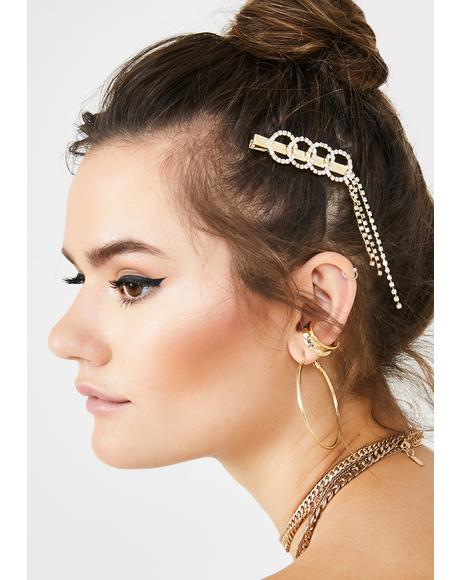 Golden Gal Rhinestone Hair Clip
