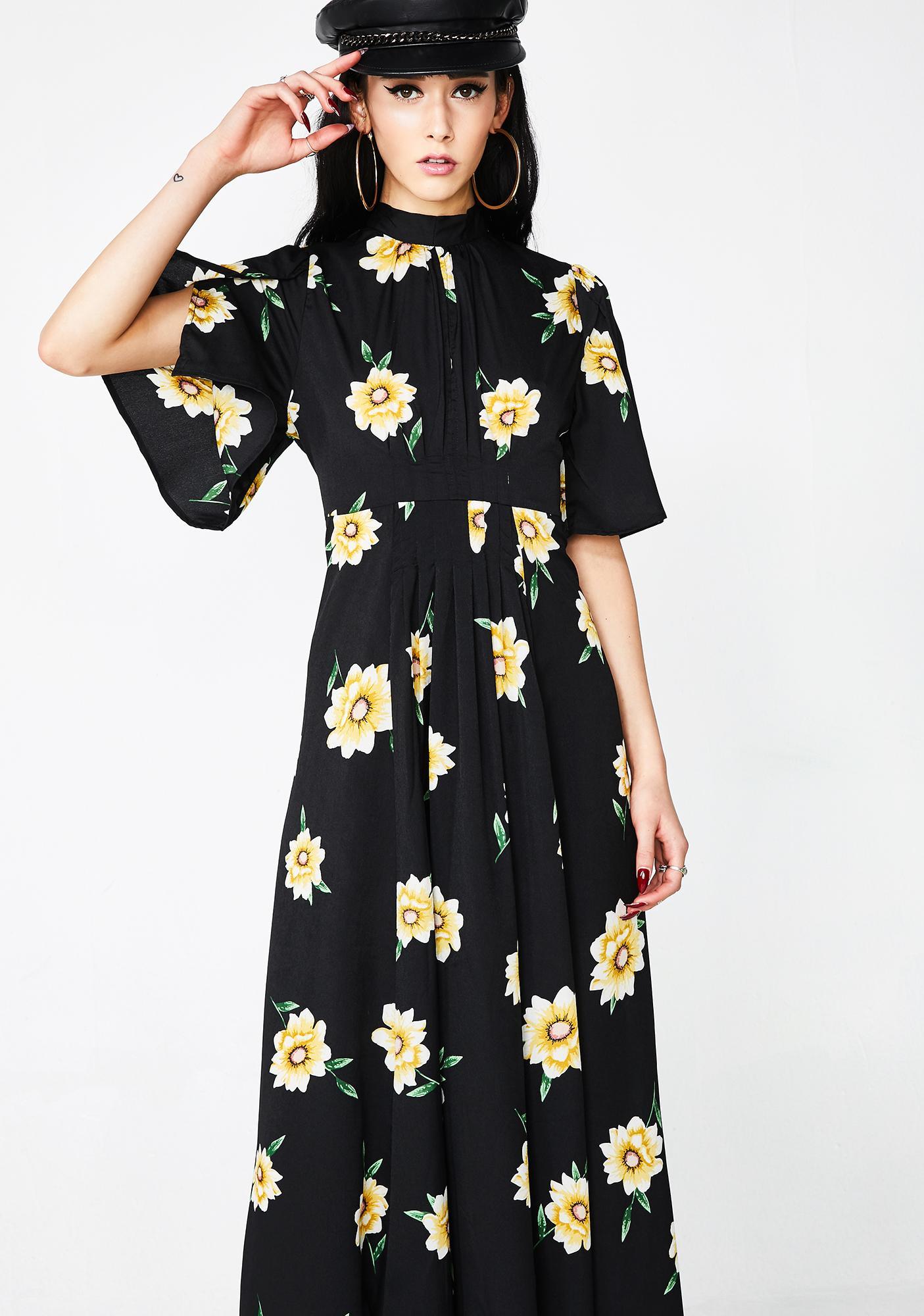 Black Sunflower Maxi Dress Dolls Kill