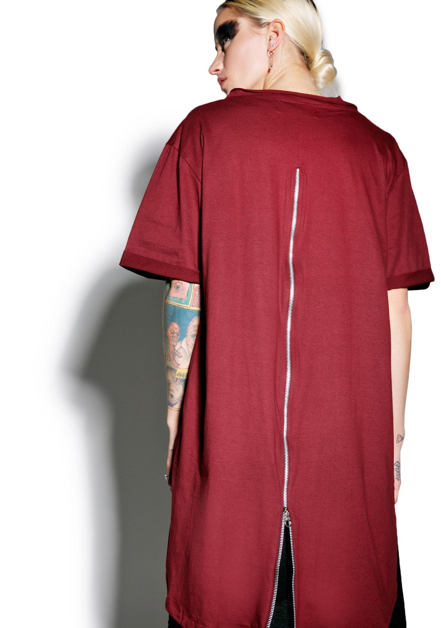 MNML Crimson Weaponized Zipper Back Tee