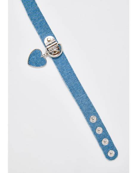 Denim Dolly Heart Choker
