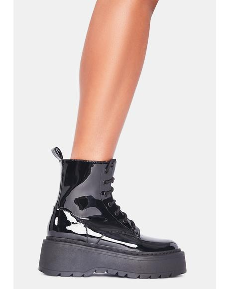 Wicked Soul Patent Combat Boots