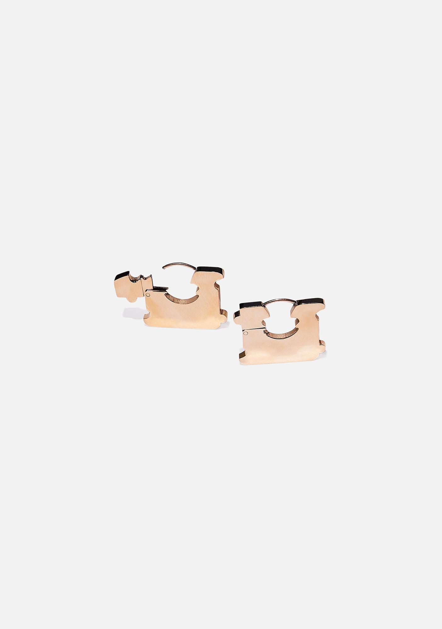 Studio Cult Gold Bread Tag Earrings