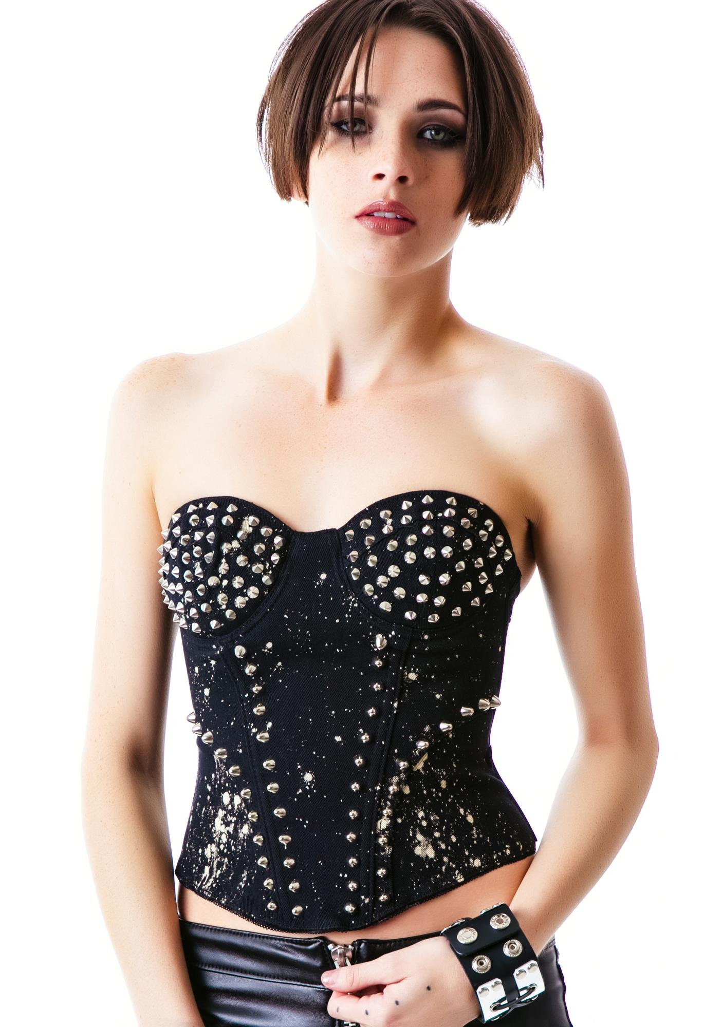 Tripp NYC Bleached Studded Corset