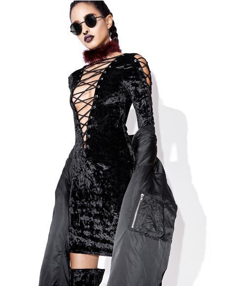 Velvet Crushin' Lace-Up Dress