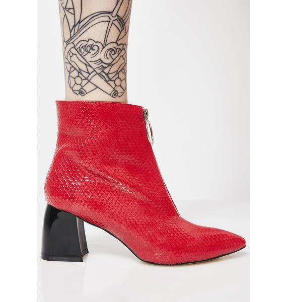 Public Desire Instinct Patent Zip Front Ankle Boots