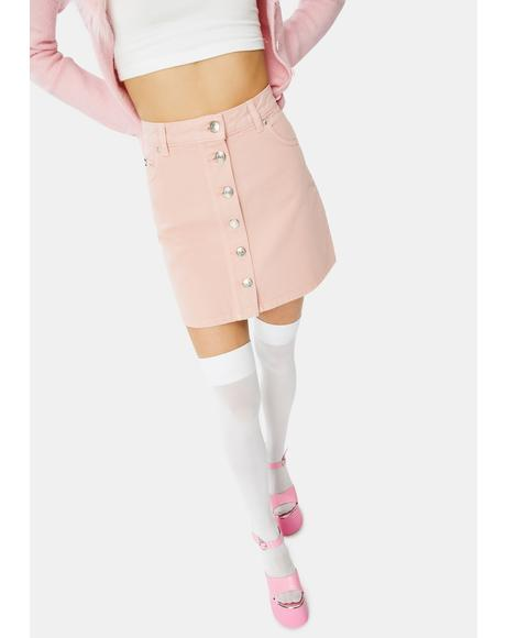Pale Pink Denim Button Skirt