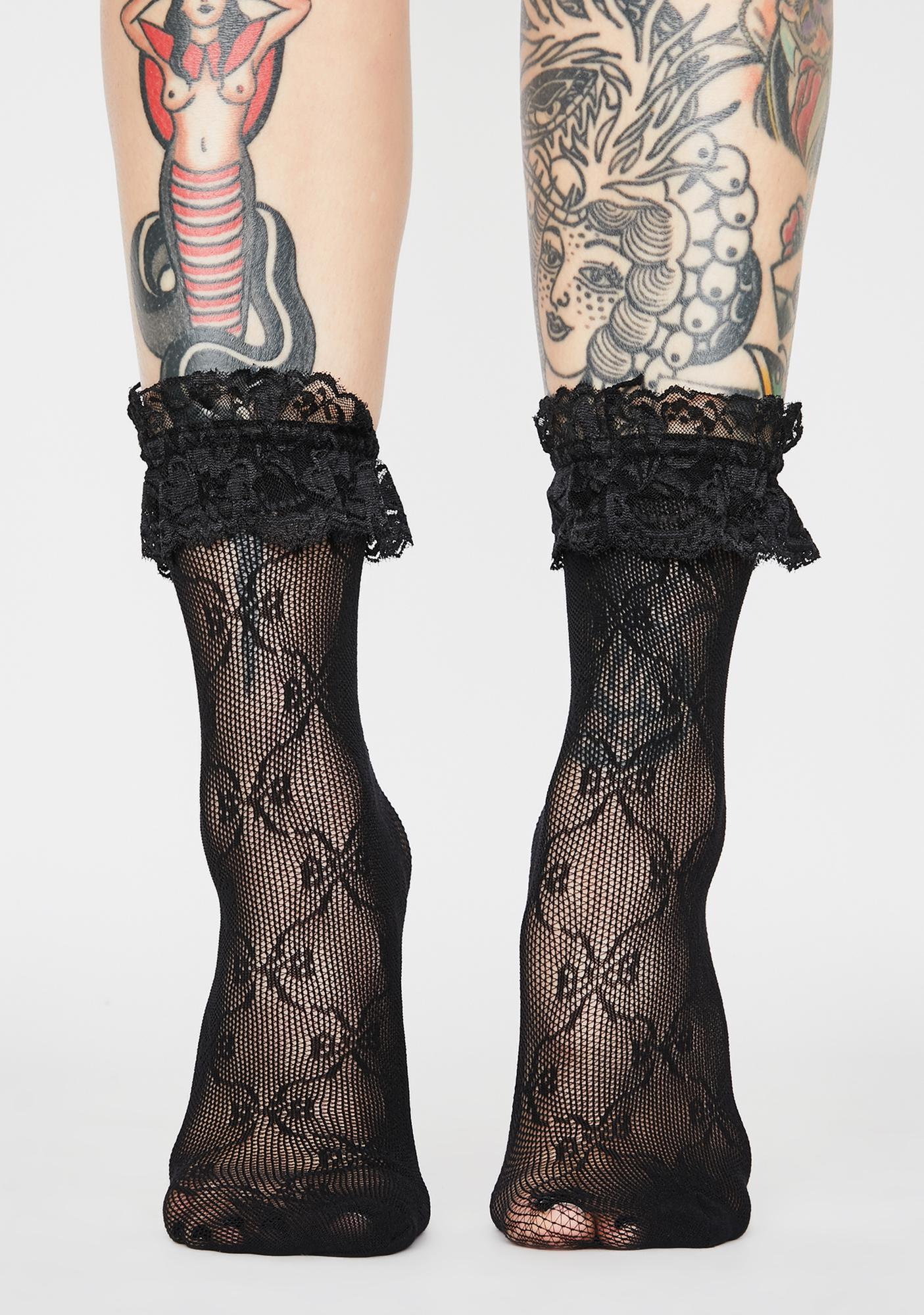 Shadow Chantilly Cream Ruffle Socks